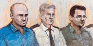 Tranh phác họa Nica (trái) và Harrison (phải) trong một phiên xét xử đầu tháng 12. Ảnh: Belfast Telegraph.